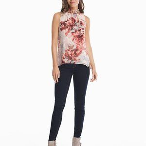 White House Black Market Floral Shell Top Pink M